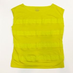Ann Taylor Yellow Ruffled Front Top Size Large